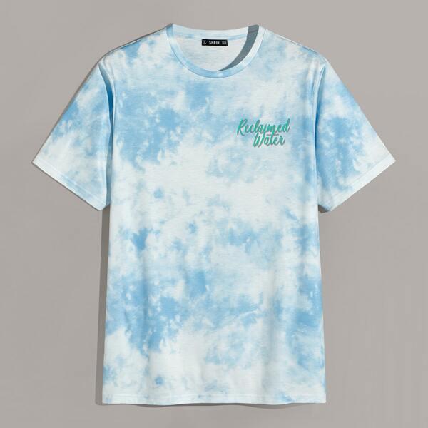 Men Letter Graphic Tie Dye Top, Blue pastel