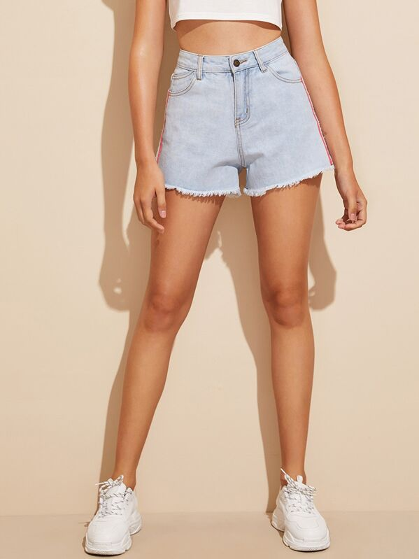Tape Side Raw Hem Denim Shorts, Debora