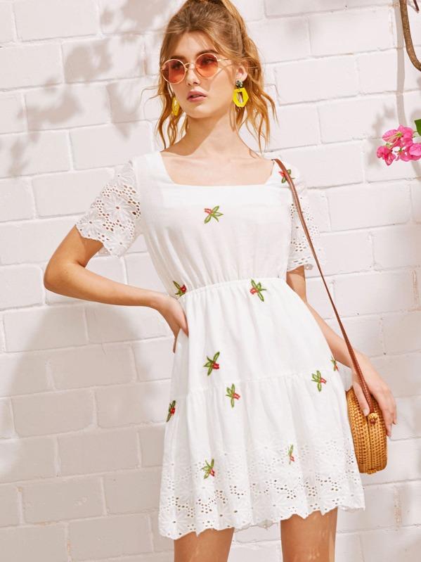 Eyelet Embroidery Square Neck Dress, Lera C