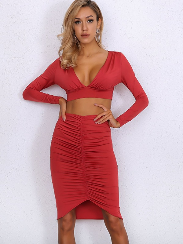 Joyfunear Plunge Neck Top & Ruched Bodycon Skirt Set, null