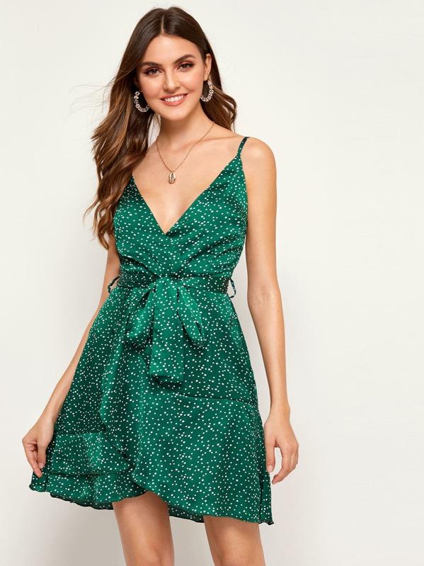 Polka Dot Print Belted Cami Dress, Jessica