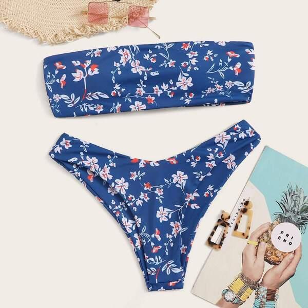 Calico Print Bandeau With High Cut Bikini Set