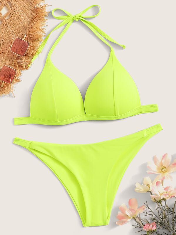 Neon Lime Seam Halter Top With Tanga Bikini Set, null