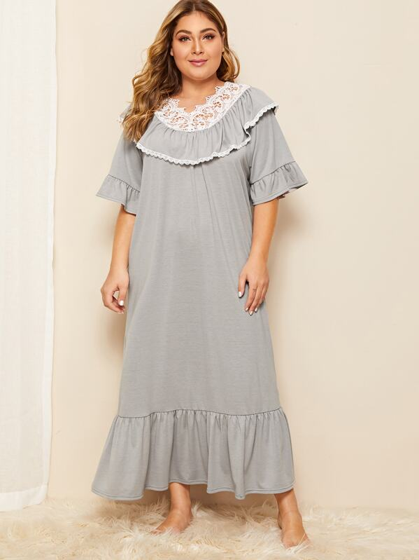 Plus Lace Trim Flounce Sleeve Ruffle Hem Night Dress, Grey, Carol