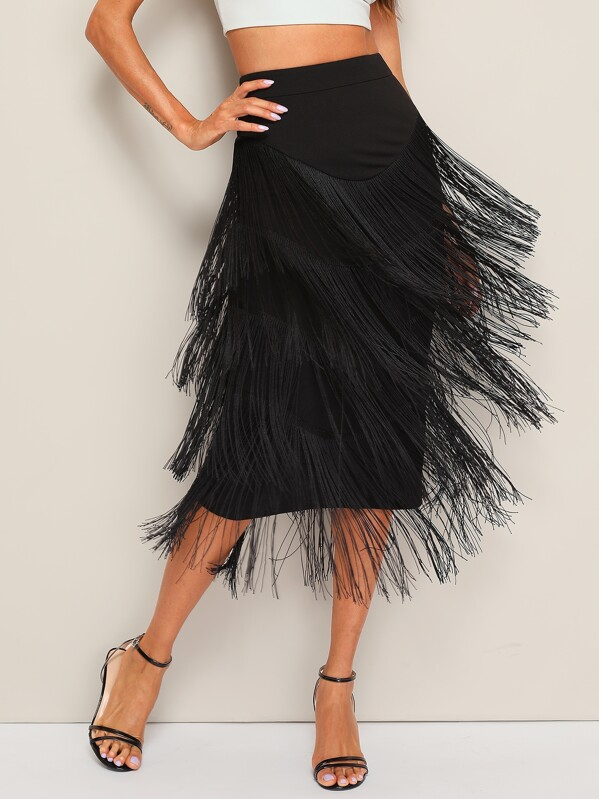 Layered Fringe Pencil Skirt, Black, Andy