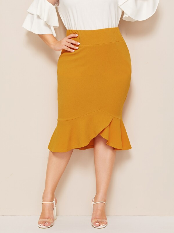 Plus Wide Waistband Ruffle Hem Bodycon Skirt, Yellow, Franziska