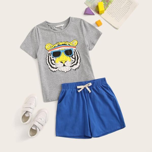 Boys Heather Grey Tiger Print Top & Shorts Set