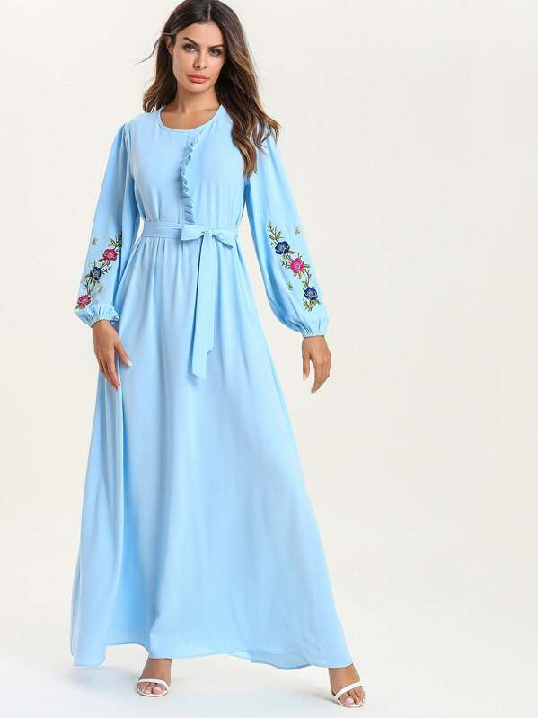 Floral Embroidered Bishop Sleeve Maxi Dress, null
