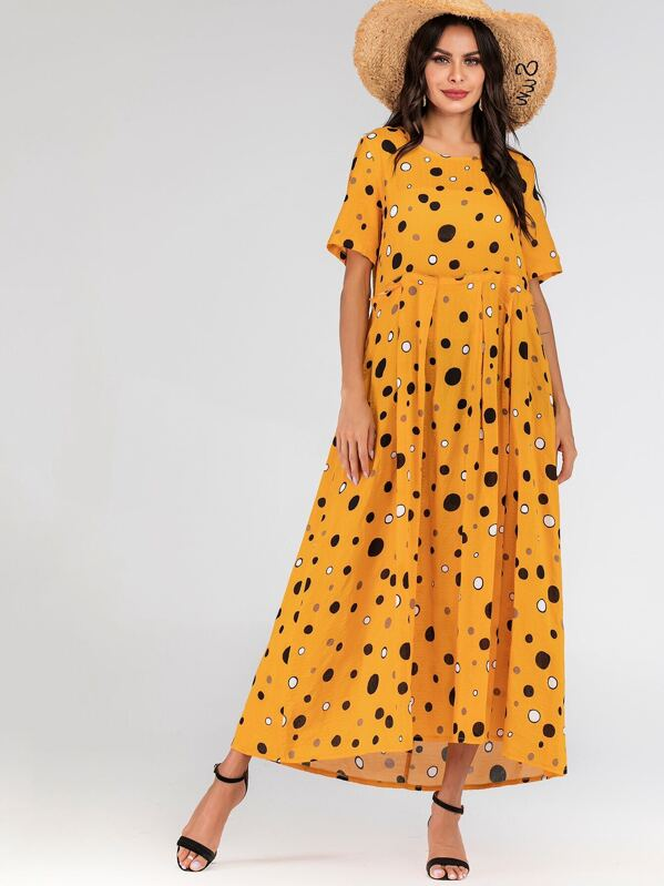 Polka Dot Print Smock Maxi Dress, Yellow
