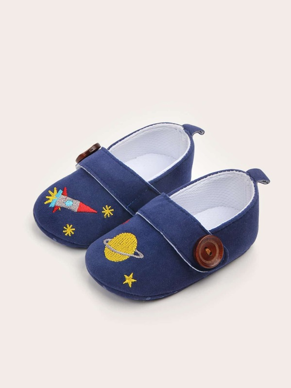 Baby Boys Planet Embroidered Flats, null