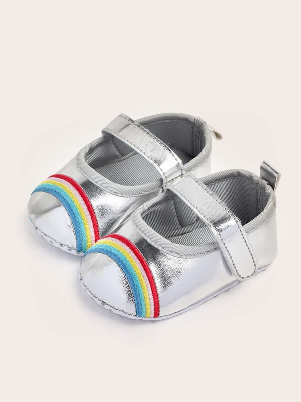 Baby Girls Rainbow Embroidered Flats, null
