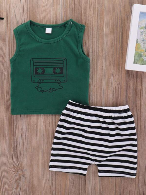 Baby Tape Print Tank Top With Striped Shorts, null