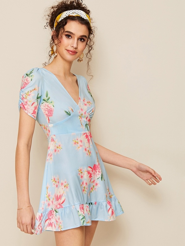 Floral Print Ruched Sleeve Ruffle Hem Dress, Blue, Megan