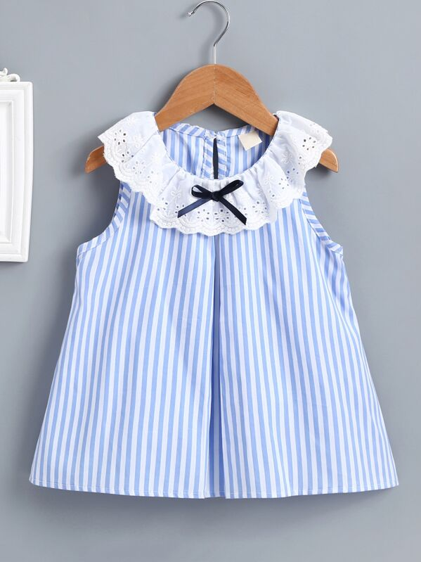 Baby Contrast Eyelet Embroidery Stripe Dress, null