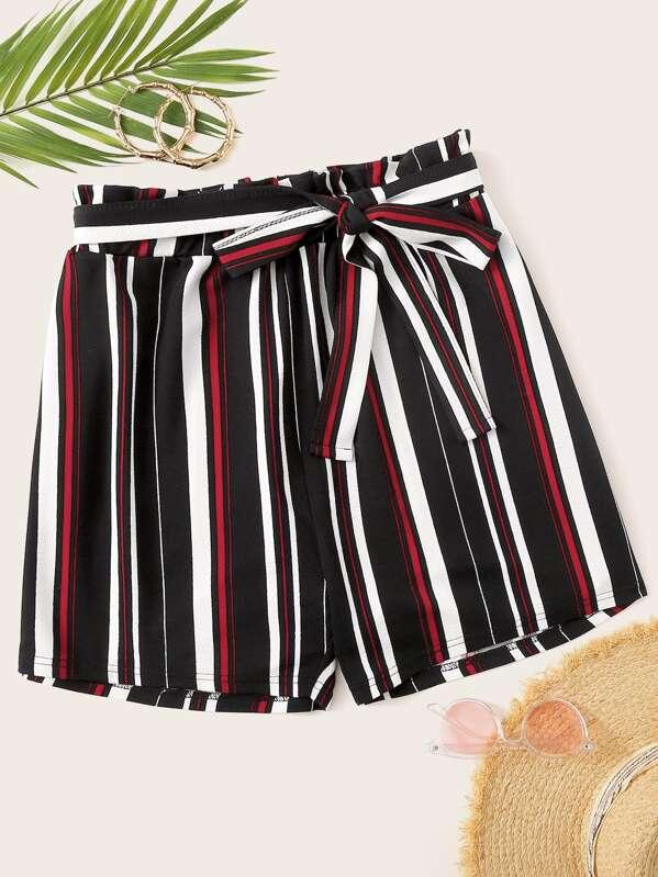 Plus Striped Self Tie Shorts, Multicolor