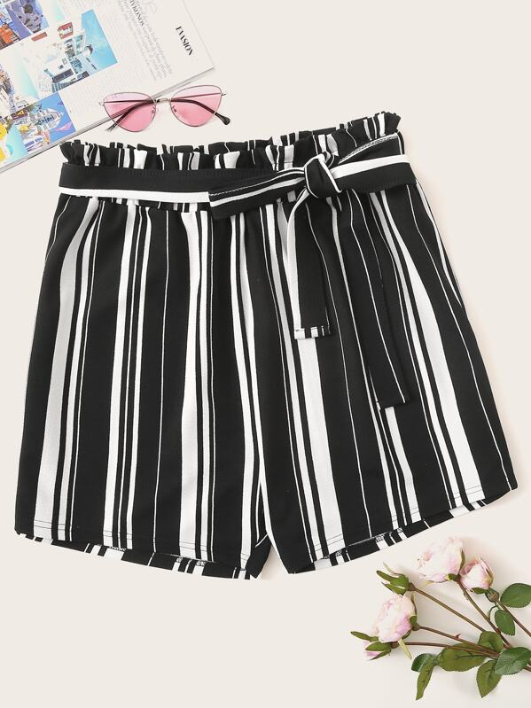 Plus Striped Self Tie Shorts, Black and white