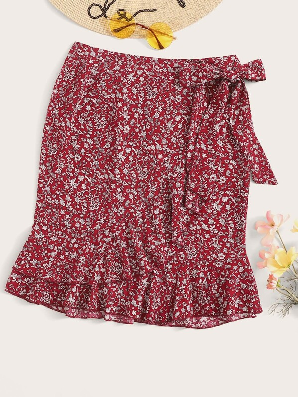 Ditsy Floral Print Ruffle Trim Knot Side Wrap Skirt, null
