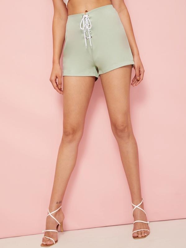 Lace-up Waist Zip Back Shorts, Green, Roberta B