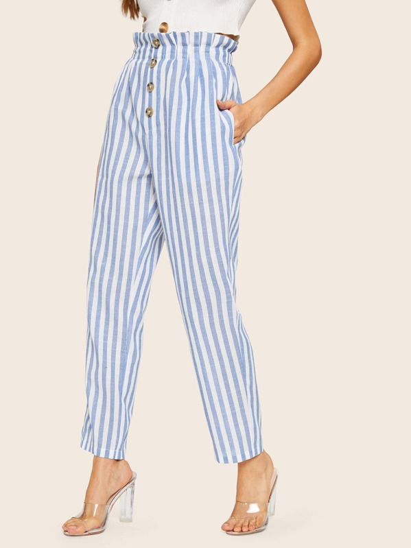 Paperbag Waist Button Front Striped Pants, Barbara C