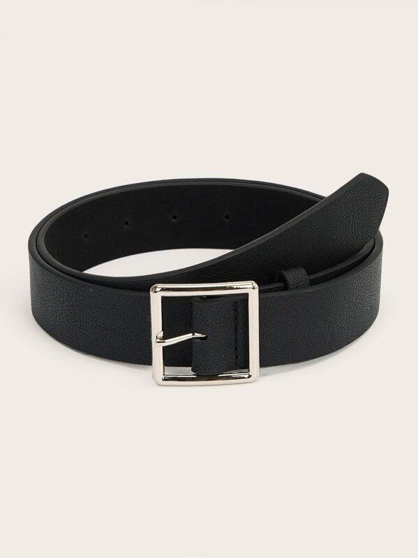 Men Square Metal Buckle Belt, null