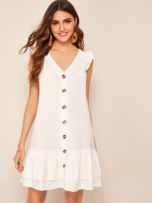 Tiered Ruffle Hem Button Front Tea Dress, White, Barbara C