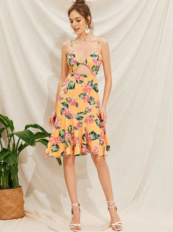 Tropical Print Ruffle Hem Twist Peekaboo Slip Dress, Natalia