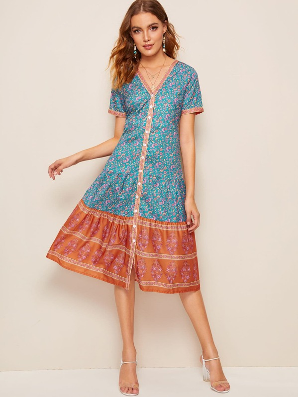 Tribal Ditsy Floral Button Front Dress, Multicolor, Debora