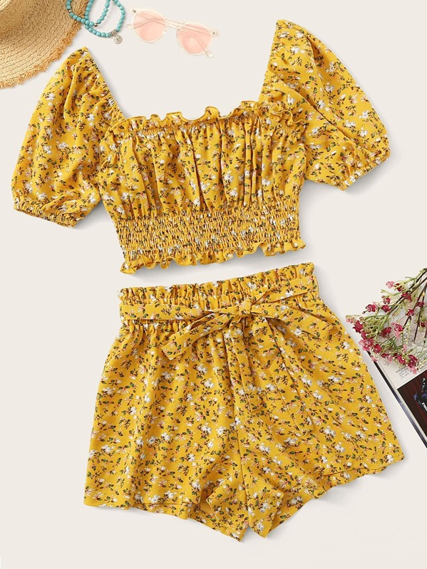Ditsy Floral Top and Layered Ruffle Trim Skirt Set, null