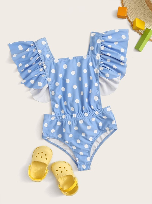 Girls Polka Dot Exaggerated Ruffle One Piece Swimwear, null