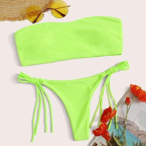 Bandeau With Tie Side Bikini Set