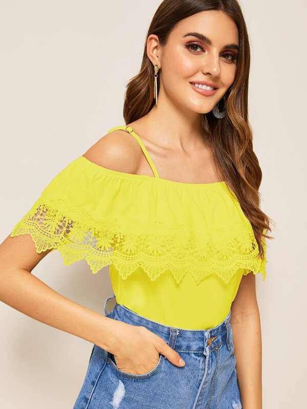 Cold Shoulder Guipure Lace Trim Top, Yellow, Barbara C
