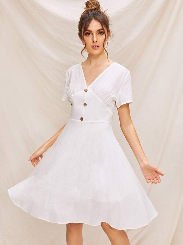 V-neck Button Front Fit and Flare Dress, White, Barbara C