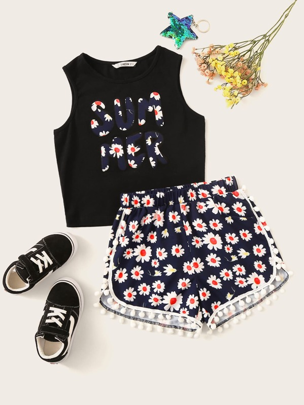 Girls Letter Print Top & Pompom Trim Daisy Floral Shorts, null