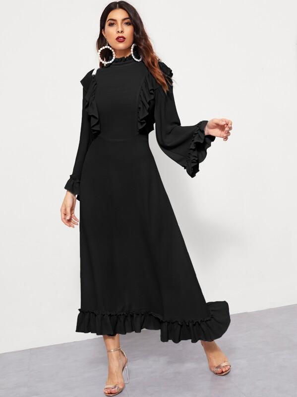 Mock-Neck Ruffle Trim Asymmetrical Hem Dress, Debi Cruz