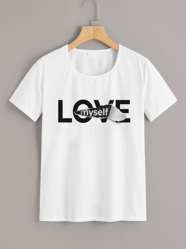 Letter Graphic Tee, White