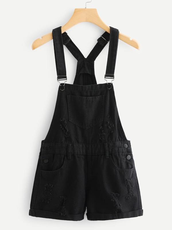 Plus Ripped Pocket Denim Overalls, Black