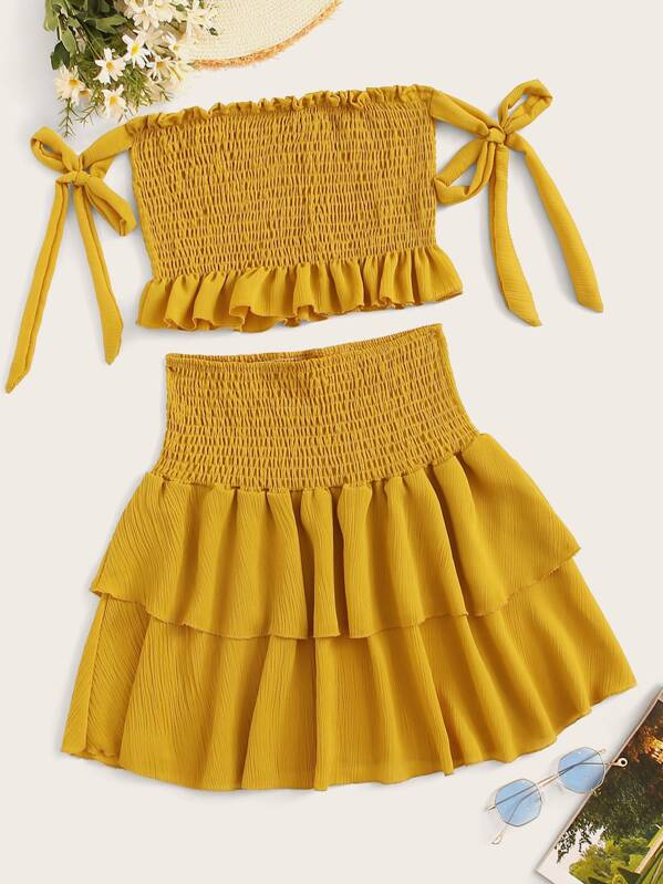 Shirred Ruffle Hem Cami Top With Tiered Layer Skirt, null