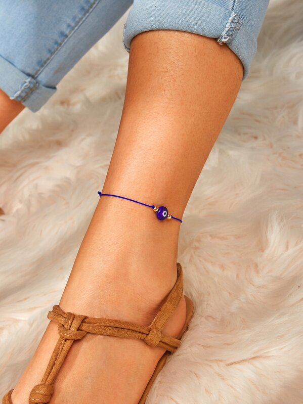 Bead Decor Anklet 1pc, Purple