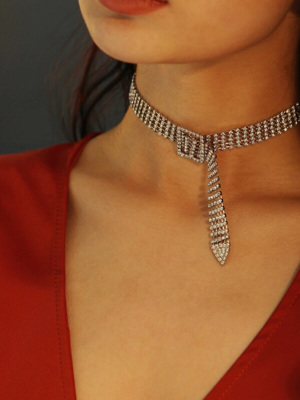 Square Buckle Detail Wide Rhinestone Choker 1pc, null