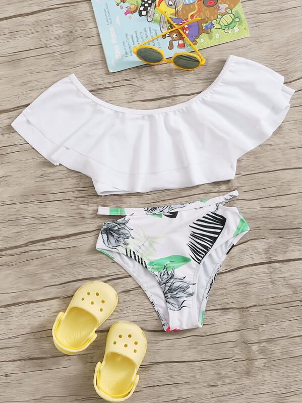 Girls Flounce Bardot Top With Random Tropical Bikini, null