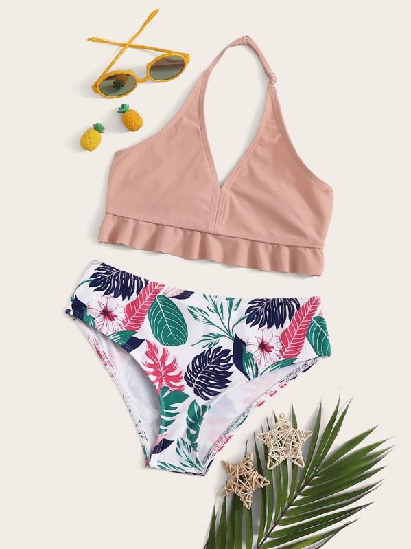 Girls Ruffle Hem Top With Random Tropical Bikini Set, null