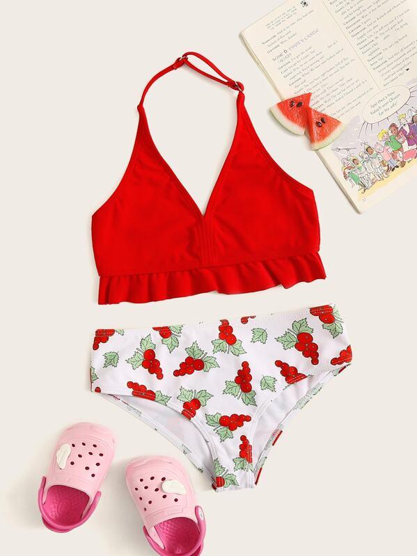 Girls Ruffle Hem Top With Random Fruit Print Bikini, null