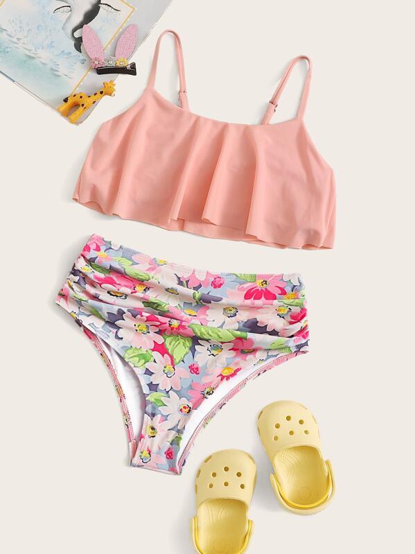 Girls Flounce Top With Random Floral Bikini Set, null