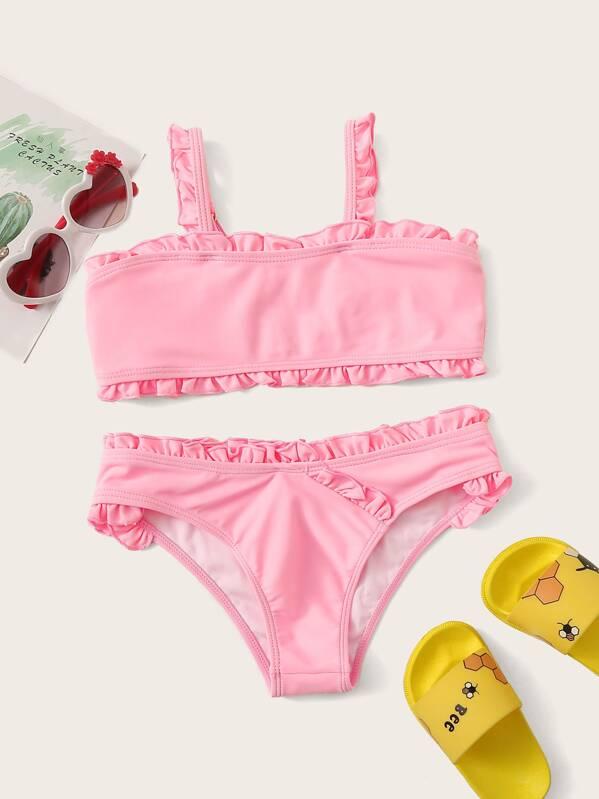 Girls Frill Trim Square Neck Bikini Set, null