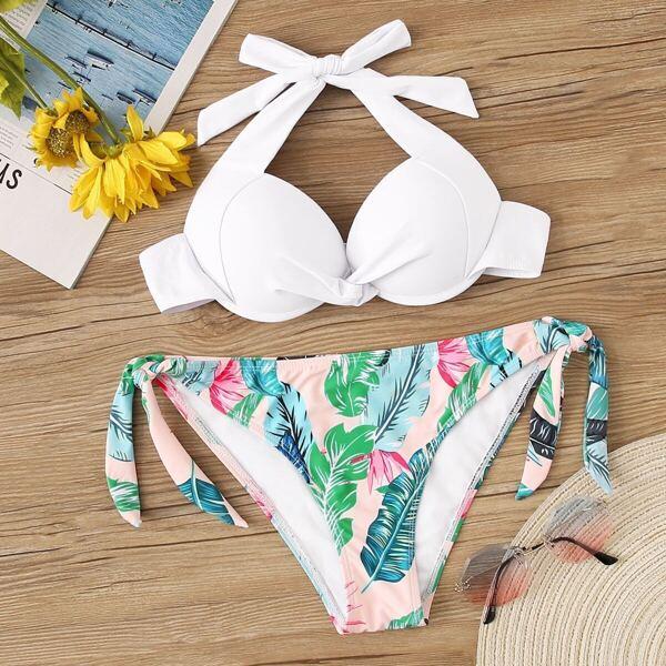 Twist Underwired Top With Random Jungle Print Bikini