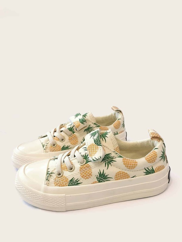 Toddler Girls Pineapple Pattern Lace-up Sneakers, null