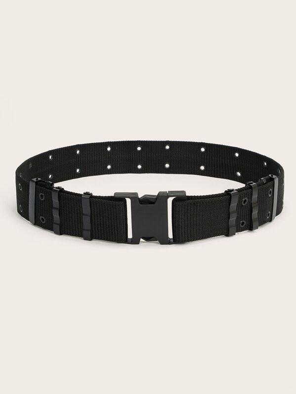 Men Eyelet Release Buckle Belt, null