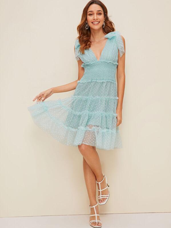 Knot Shoulder Plunging Neck Mesh Overlay Dress, Gabi B
