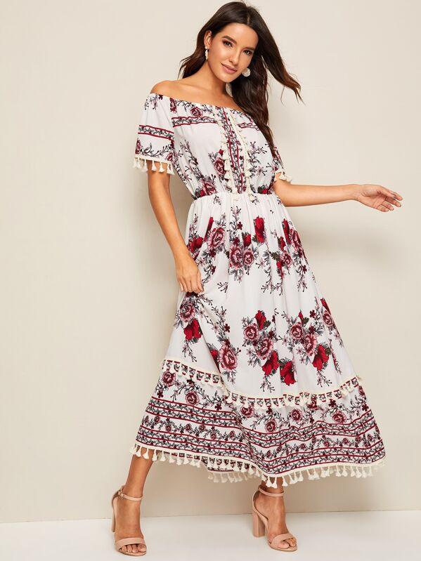 Floral Print Fringe trim Off the Shoulder Maxi Dress, Juliana