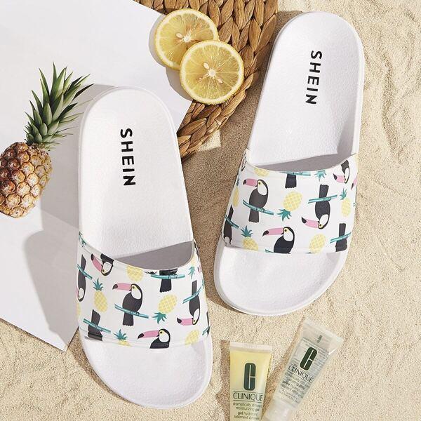 Parrot & Pineapple Pattern Flat Slippers